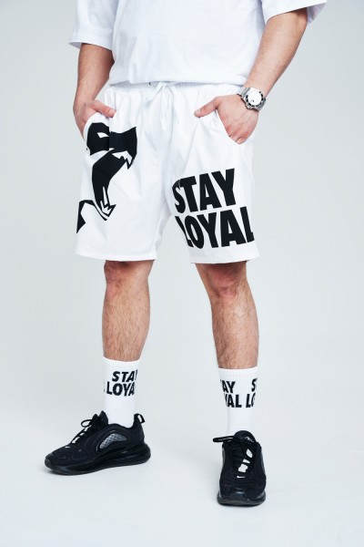 Stay Loyal Wolf Shorts White