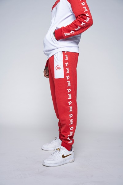 Red and White Track Pants